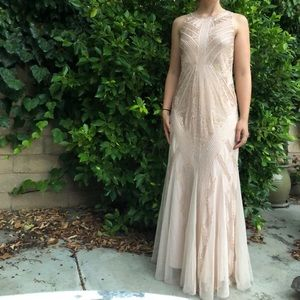 Adrienne Papell blush pink evening gown